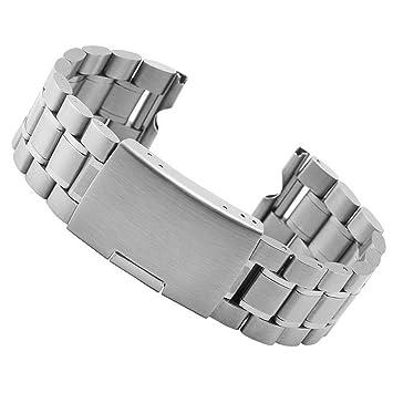 fenguh Plata 22mm Sólido Acero Inoxidable Venda De Reloj Pulsera Correa de Repuesto Replacement Watch Bands para Motorola Moto 360 Smart ...