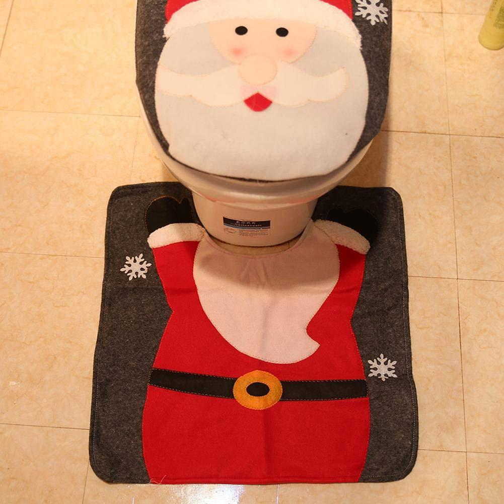 Elch TOMMY LAMBERT 2-teiliges WC-Deckel-Set mit Weihnachtsmann-Motiv und Schneemann f/ür Badezimmer WC Dekoration Elk Dusche