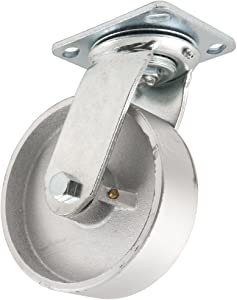 Steel Caster Wheel with Swiveling Top Plate - 6-Inch - 900 lb. Load Capacity - Great for Stationary Loads that are Not Frequently Moved