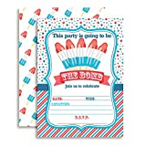 Amanda Creation Fourth of July Popsicle Party Fill In Invitations set of 10 with envelopes. Perfect for Summer parties, graduation, family reunions, barbeques, birthdays and more