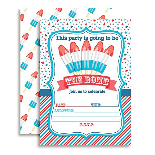 Amanda Creation Fourth of July Popsicle Party Fill in Invitations Set of 20 with envelopes. Perfect for Summer Parties, Graduation, Family reunions, barbeques, Birthdays and More