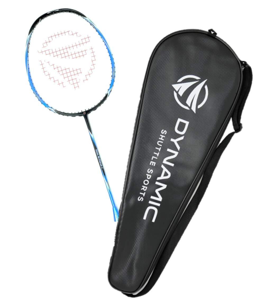 Dynamic Shuttle Sports Titan G-Force 7 Professional Carbon Fiber Badminton Racquet, Lightweight Badminton Racket Including Cover (Blue)