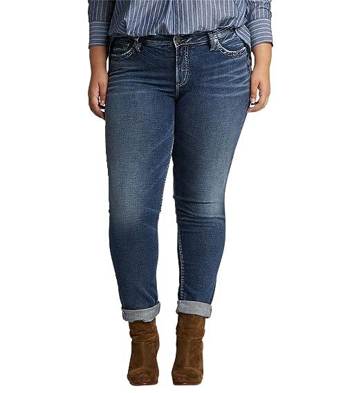 0bc41f1d Silver Jeans Co. Women's Plus Size Boyfriend Relaxed Fit Jeans, Indigo  Sandblast, 14x27