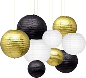"Sonnis 9Pcs Paper Lanterns 12""10"" 8""Round Lanterns for Birthday Wedding Baby Showers Party Decorations(Black, White, Gold)"