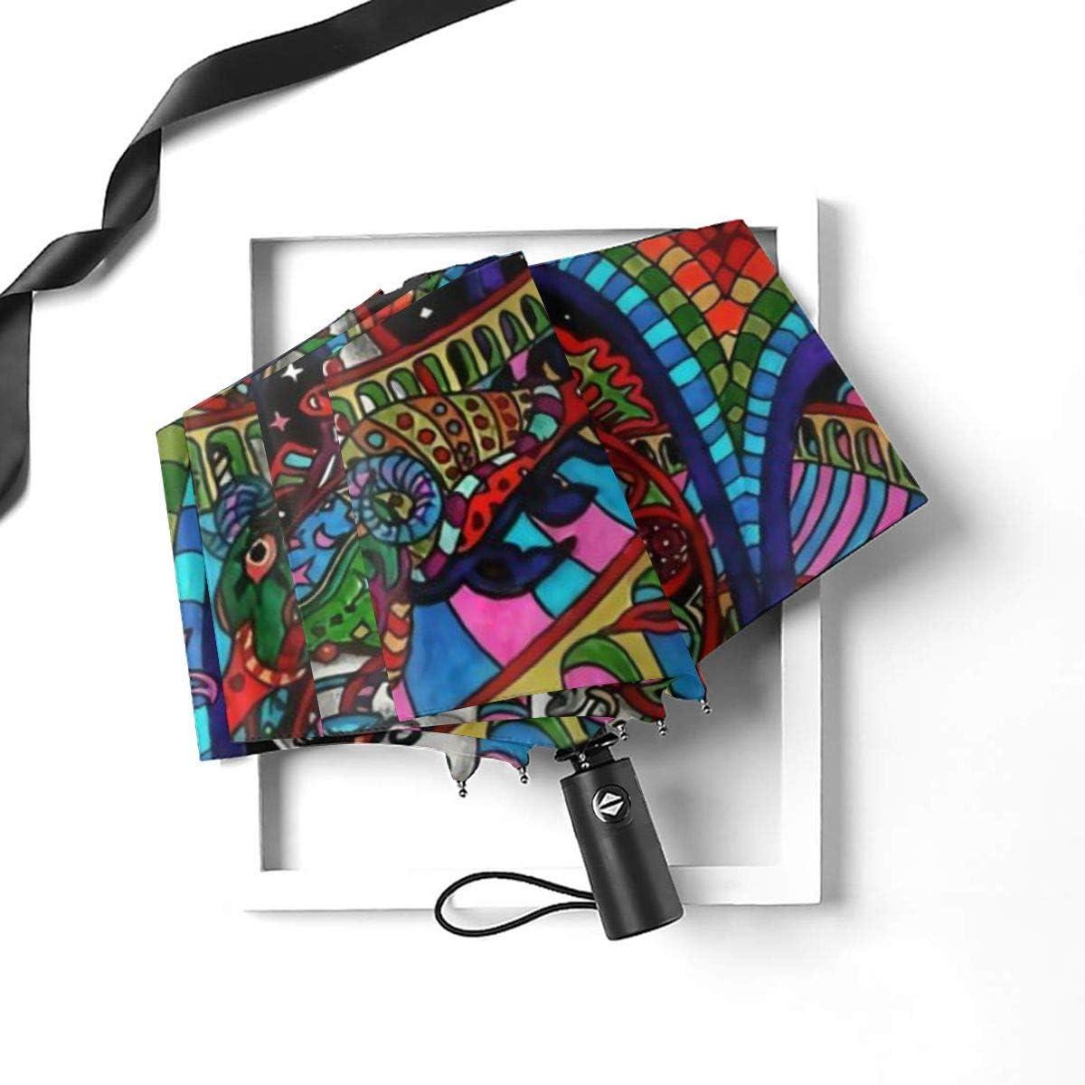 Mandala Psychedelic African Queen Sun Umbrella Compact Folding Travel Umbrella Auto Open And Close For Windproof Rainproof UV Protection Parasol