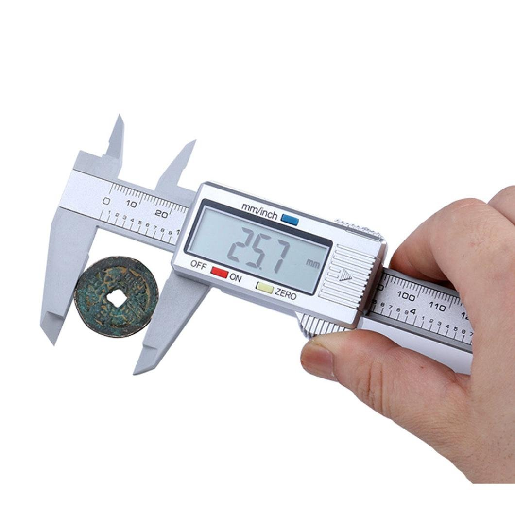 Dragon868 Digital Electronic Carbon Fiber Vernier Caliper Gauge Micrometer, with Clear LCD Screen and 0– 150 mm Measuring Range, Silver with Clear LCD Screen and 0-150 mm Measuring Range