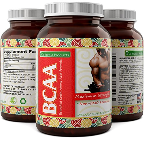 3000 mg Dosage BCAA Pills – Pure Lean Gains – Men + Women – Best Concentrated Muscle Repair – Build Muscles + Recovery – Essential Amino Acids Supplements – by California Products