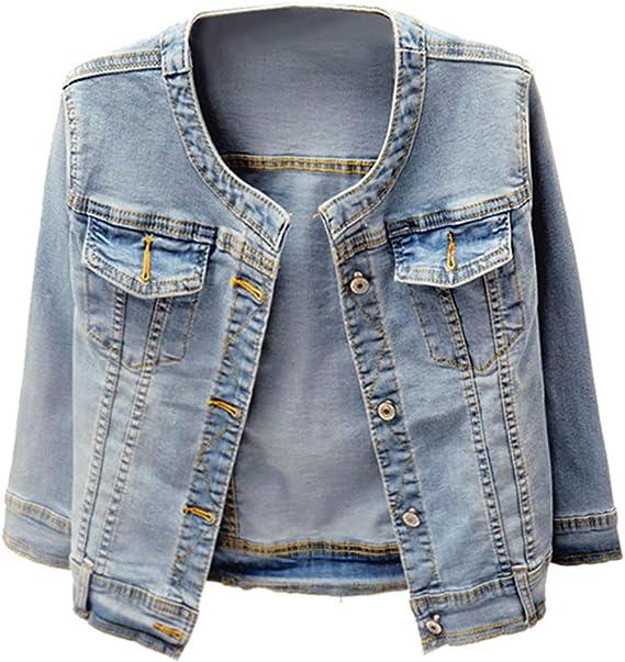 Kedera Women S Collarless Denim Jackets Three Quarter Sleeve Stretch Short Jeans Coat At Amazon Women S Coats Shop