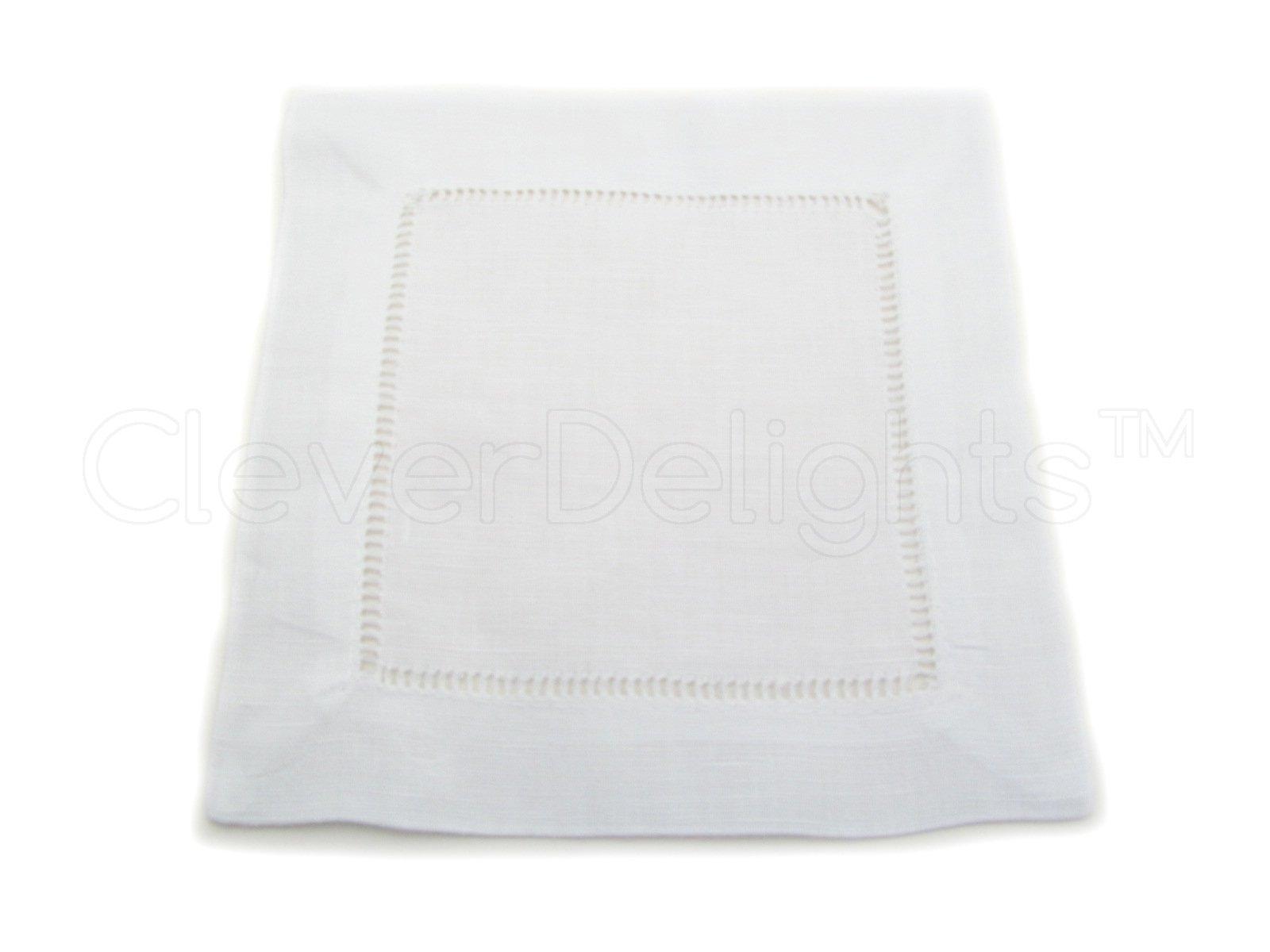 12 CleverDelights White 100% Cotton Hemstitch Cocktail Napkins - 6'' x 6'' Ladder Hemstitch Cloth Beverage Napkins - 100% Cotton 6 Inch Coaster