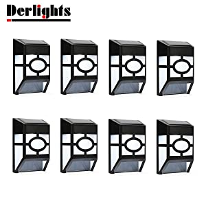 Derlights Waterproof Solar Powered LED Wall Light for Outdoor Landscape Garden Yard Lawn Fence Deck Roof Lighting Decoration (8pcs)