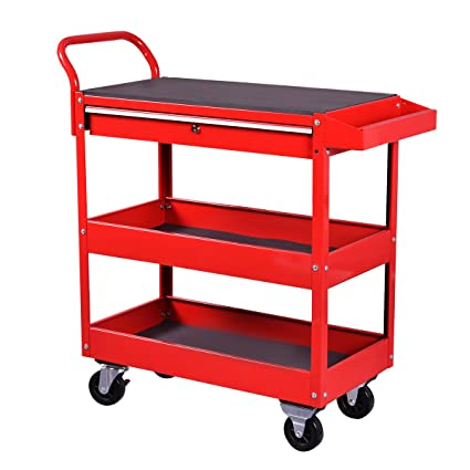 Goplus Tool Cart Rolling Tool Chest Cabinet 36 Inch Steel Box With Locking  Drawer And