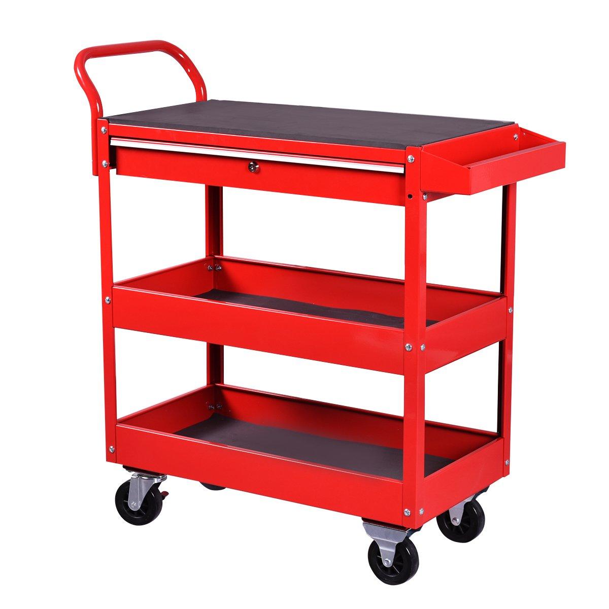 Goplus Tool Cart Rolling 36-Inch Steel Tool Chest Box Wheels Trays w/ Locking Drawer, Red