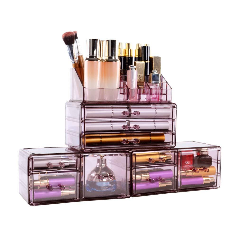 DreamGenius Makeup Organiser Cosmetic Storage Makeup Case 4 Pieces Purple