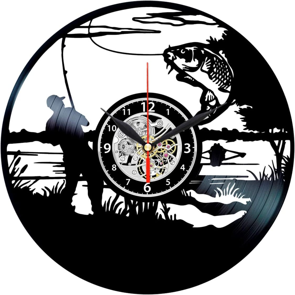 Queen Clocks Bass Fishing Clock - Vinyl Record Art - Fish Wall Decor - Fly Fisherman Gifts