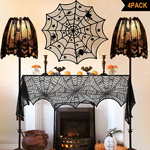 Halloween Decorations Indoor, Set of 4 Black Lace Decors, Including Spider Web Fireplace Mantel Scarf Cover,Spiderweb Round Lace Table Topper Tablecloth, 2Pcs Spider Web Lamp Shade Cover Scarf (Lampshade Topper Halloween)