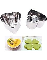 KOOTIPS - Juego de anillos para cocinar con prensa, 4 piezas, 2 anillos +