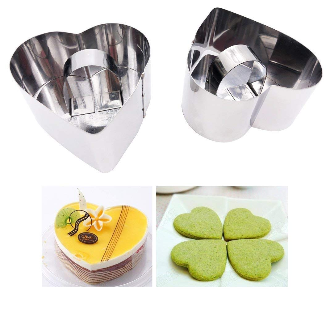 Cooking Forms Plating Rings with Press 4Pcs/Set, 2 Rings+2 Pressers Circle Stainless Steel Ring Molds for Cooking and Backing,Hamburger Press Sushi Mold Mousse Cake Ring Tartar Mold (Square) Somtis
