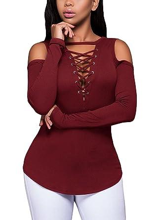 11e7ed7291f96 T-Shirt à Manches Longues pour Femmes, Femme Pull en Maille Côtelée  Bourgogne S