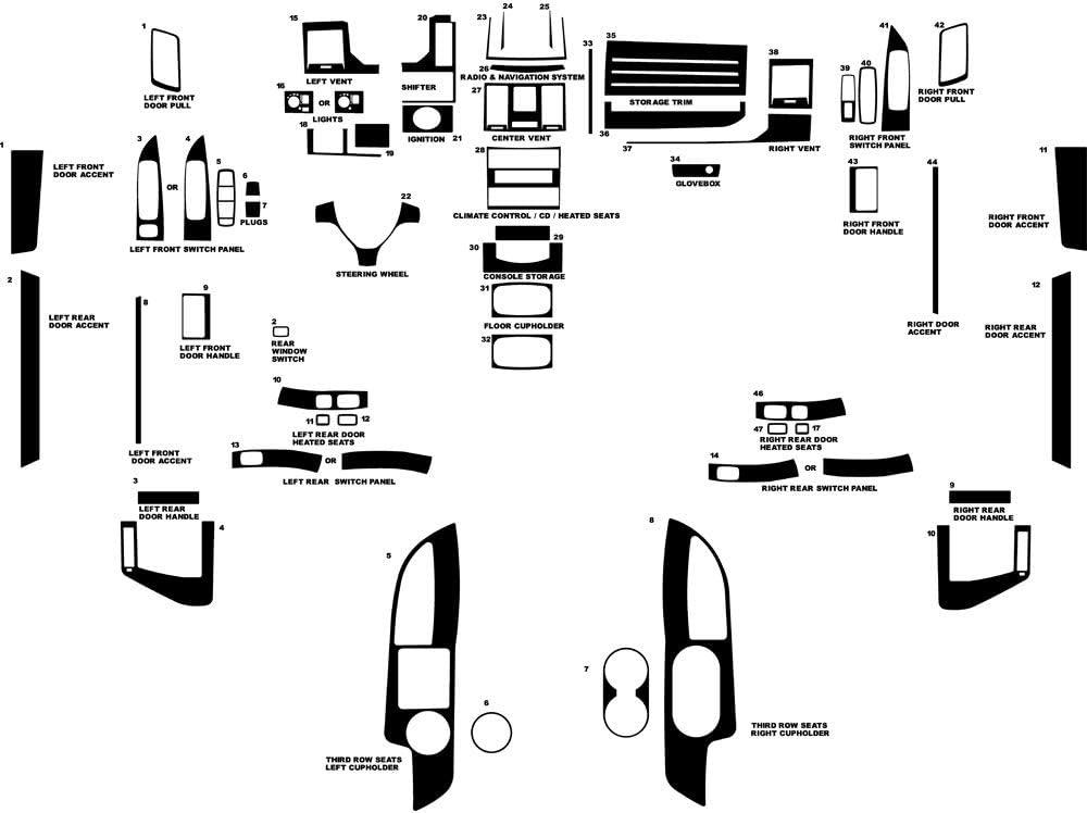 Rvinyl Rdash Dash Kit Decal Trim for Dodge Grand Caravan 2008-2010 - Snake Skin (Black)