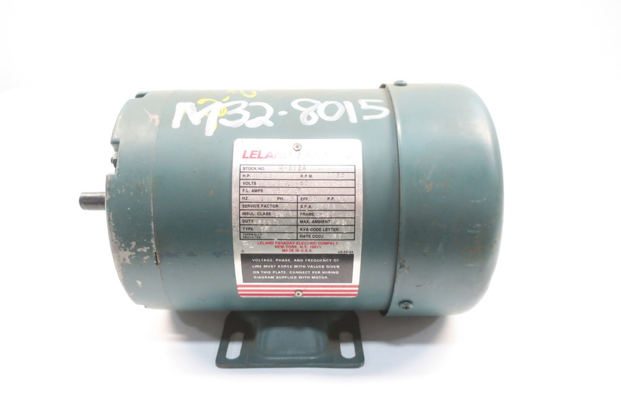 LELAND FARADAY M-612A AC Motor J48 1725RPM 3PH 1/3HP 230/460V-AC D587886:  Amazon.com: Industrial & Scientific