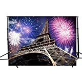 DODOING 7x5FT Colorful Fireworks Night Lighting Eiffel Tower Photography Backdrop Photo Studio Props Background for Wedding/Valentine's Day/New Year/Festival Celebration