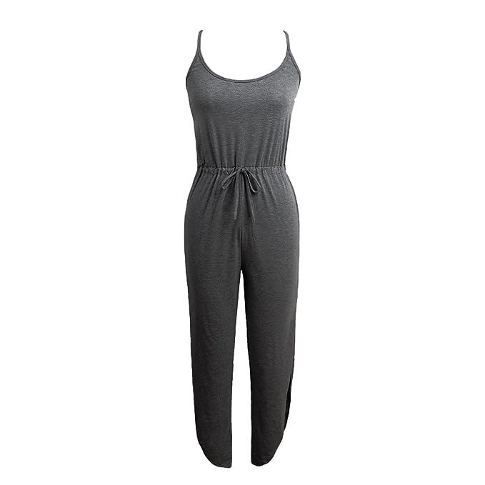 6690d912123 TOGIC Unique Women Jumpsuit Spaghetti Strap Drawstring Waists Side Split  Solid Playsuit Light Grey Gray S