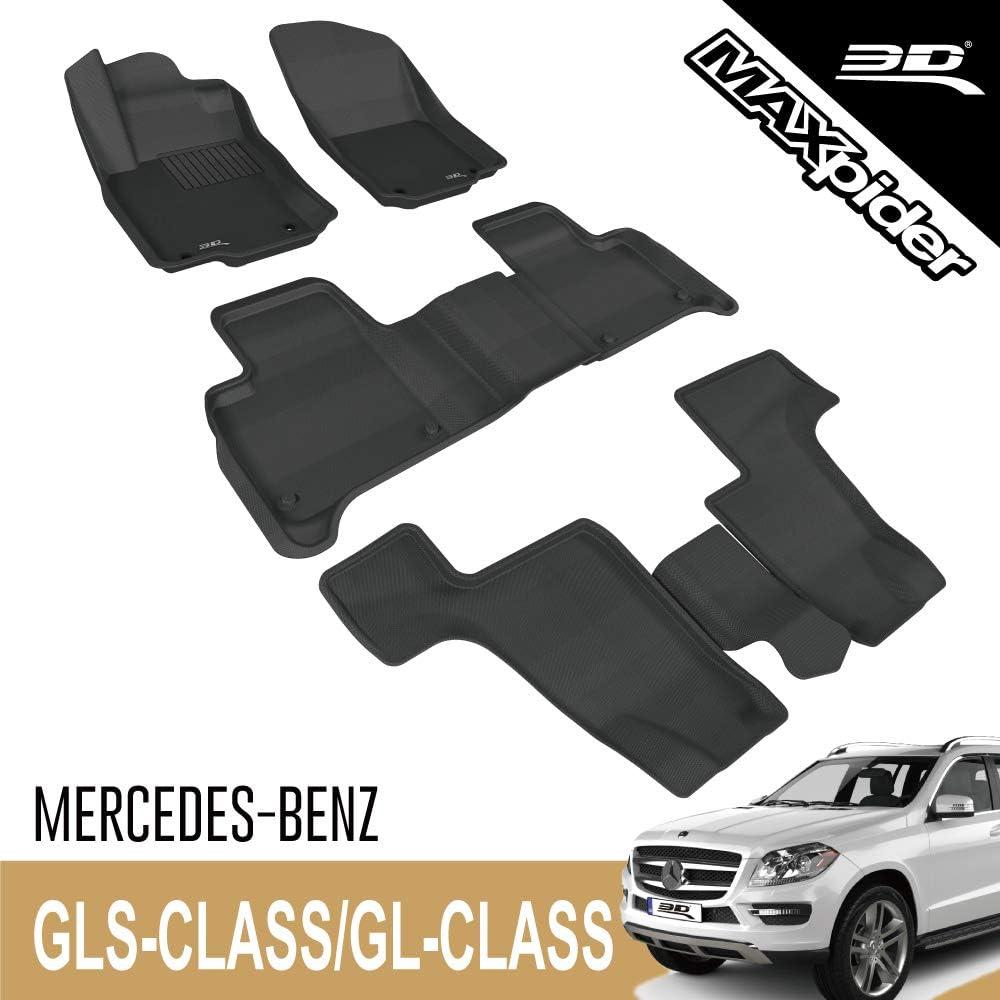 3D MAXpider - L1MB03901509 Complete Set Custom Fit All-Weather Floor Mat for Select Mercedes-Benz GLS-Class/ GL-Class Models - Kagu Rubber (Black)