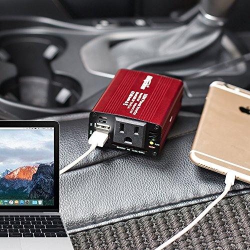 Bapdas 150W Car Power Inverter DC 12V to 110V AC Car Converter with 3.1A Dual USB Car Adapter-Red by Bapdas (Image #6)
