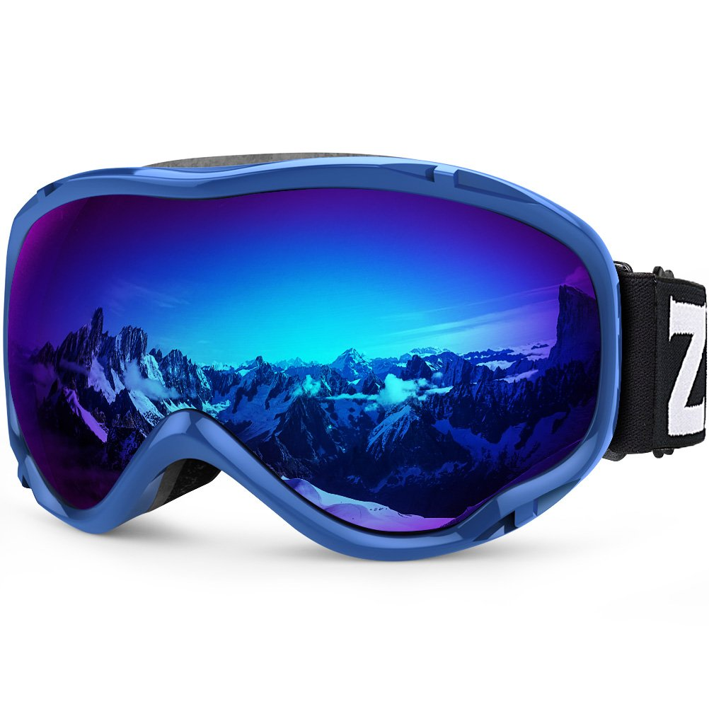 Zionor Lagopus Ski Snowboard Goggles UV Protection Anti Fog Snow Goggles for Men Women Youth VLT 15% Blue Frame Mirrored Blue Lens by Zionor