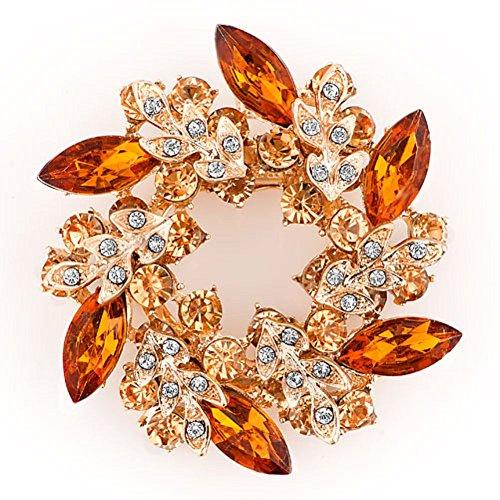 LuckyJewelry Fancy Vintage Rhinestone Crystal Flower Brooch Bouquet Pins For Sale Cheap (Topaz Yellow)
