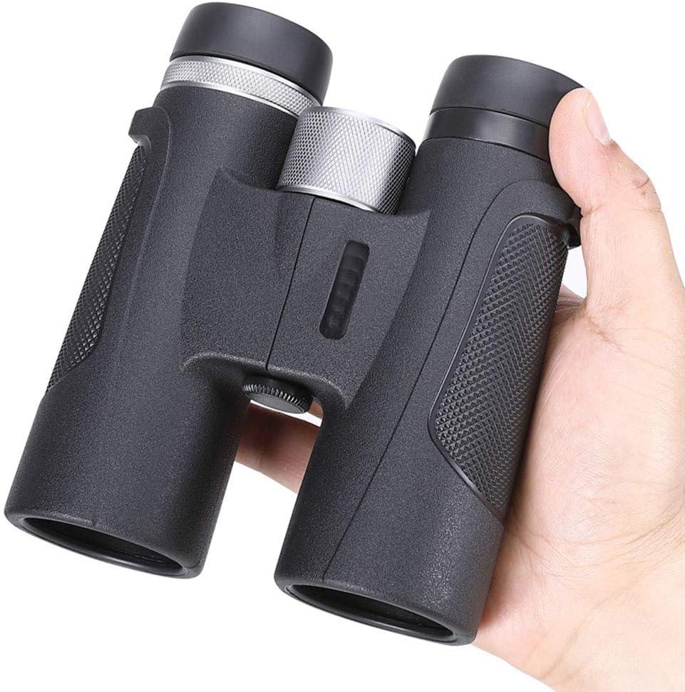 SJTL Binoculares Profesionales Prismáticos, Binoculares HD Portátiles de 12x42 con Clip para Teléfono Inteligente, con Soporte para Teléfono telescópico, para Observación de Aves, Excursiones,Negro