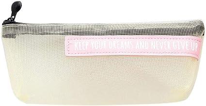 Zwinkle - Estuche transparente de malla de nailon para maquillaje, color amarillo: Amazon.es: Oficina y papelería