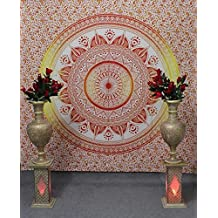 Hippie Tapestry, Hippy Mandala Bohemian Tapestries, Indian Dorm Decor, Psychedelic Tapestry Wall Hanging Ethnic Decorative Orange color QUEEN SIZE Lovely Orange