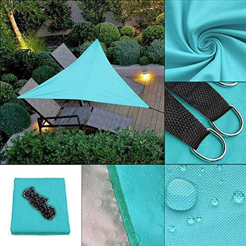 (LonTime Triangle Sun Shade Sail - 9'10'' x 9'10'' x 9'10'' UV Block Sunshade Triangle Canopy Awning Waterproof Sun Sail Shade for Patio Yard Deck Pergola (Blue))