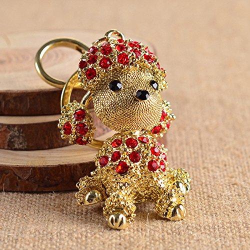Cute Dog Sparkling Poodle Blingbling Diamond Crystal Rhinestone Alloy Metal Keychain Animal Puppy Lover Kawaii Keyring Key Chain Pendant Purse Handbag Bag Car Hanging Charm Decoration Gift (Red)]()