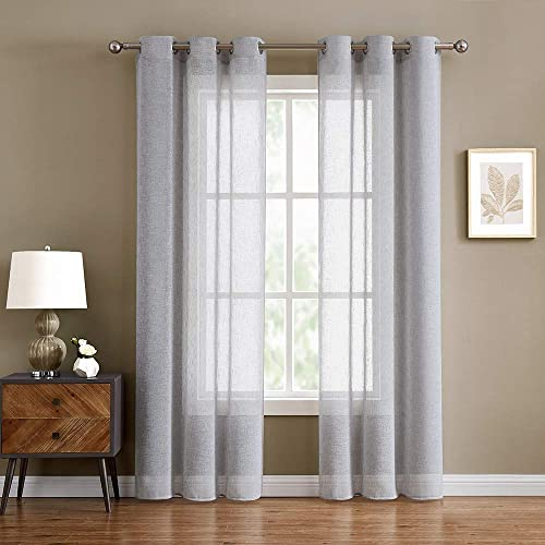 Semi-Sheer Grey Curtains 108 inch Length for Bedroom Curtain Sheers 108 inch Long for Living Room Flax Linen Look Sliver Gray Window Treatment Set Grommet Curtain 40 W x 108 L 2 Panels