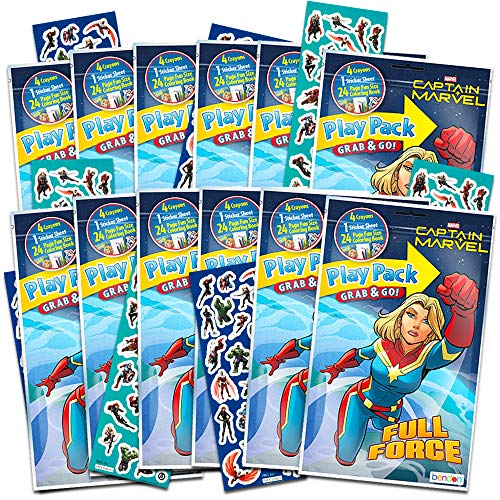 Superwoman Party Supplies (Captain Marvel Party Favors Pack ~ Bundle of 12 Captain Marvel Play Packs Filled with Stickers, Coloring Books, and Crayons with Bonus Stickers (Captain Marvel Party)