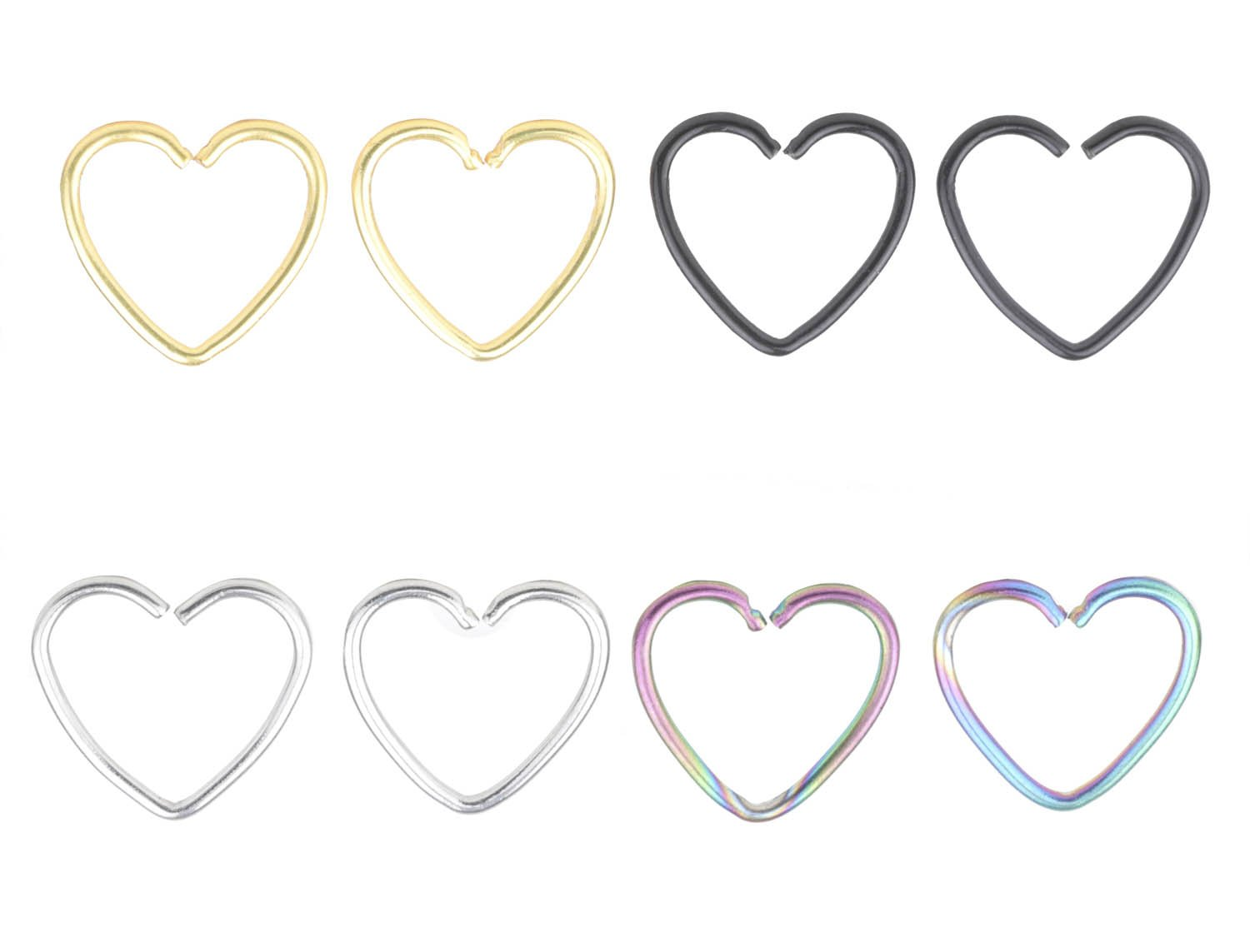 FB 18G 316L Surgical Steel Heart Shape Earring Nose Hoop Nose Rings Cartilage Earring Body Piercing Jewelry