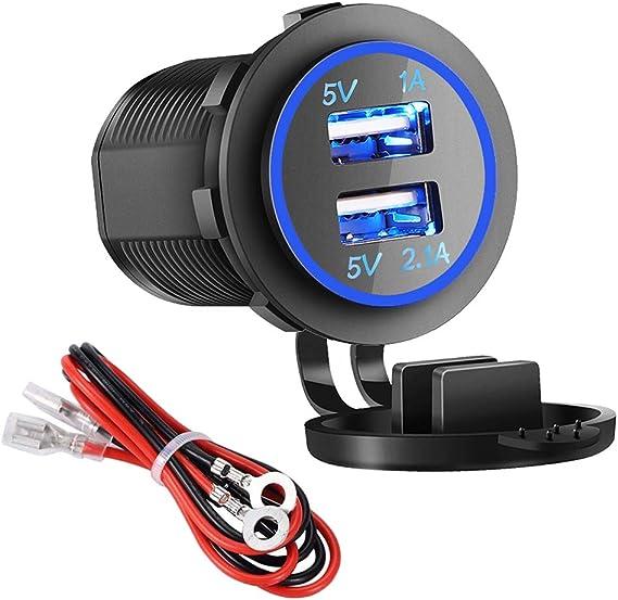 Amazon.com: Cargador USB doble para coche, barco, navegador ...