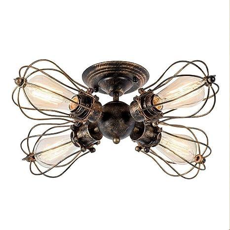Vintage Diseñador Lámpara de techo Negro Alrededor Hierro ...