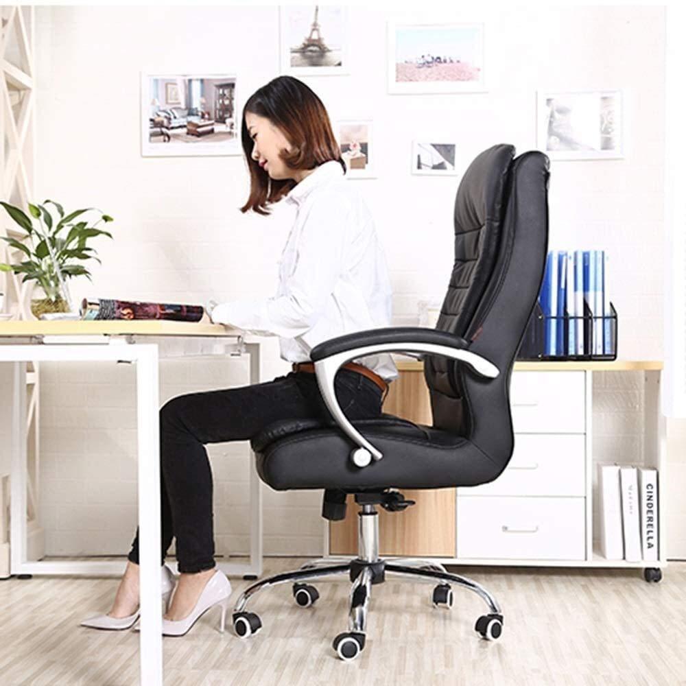 Barstolar Xiuyun läder skrivbord spelstol, hög rygg ergonomisk svängbar datorstol med gungfunktion justerbar höjd: 21,6–24 i atletisk stol (färg: svart) Svart