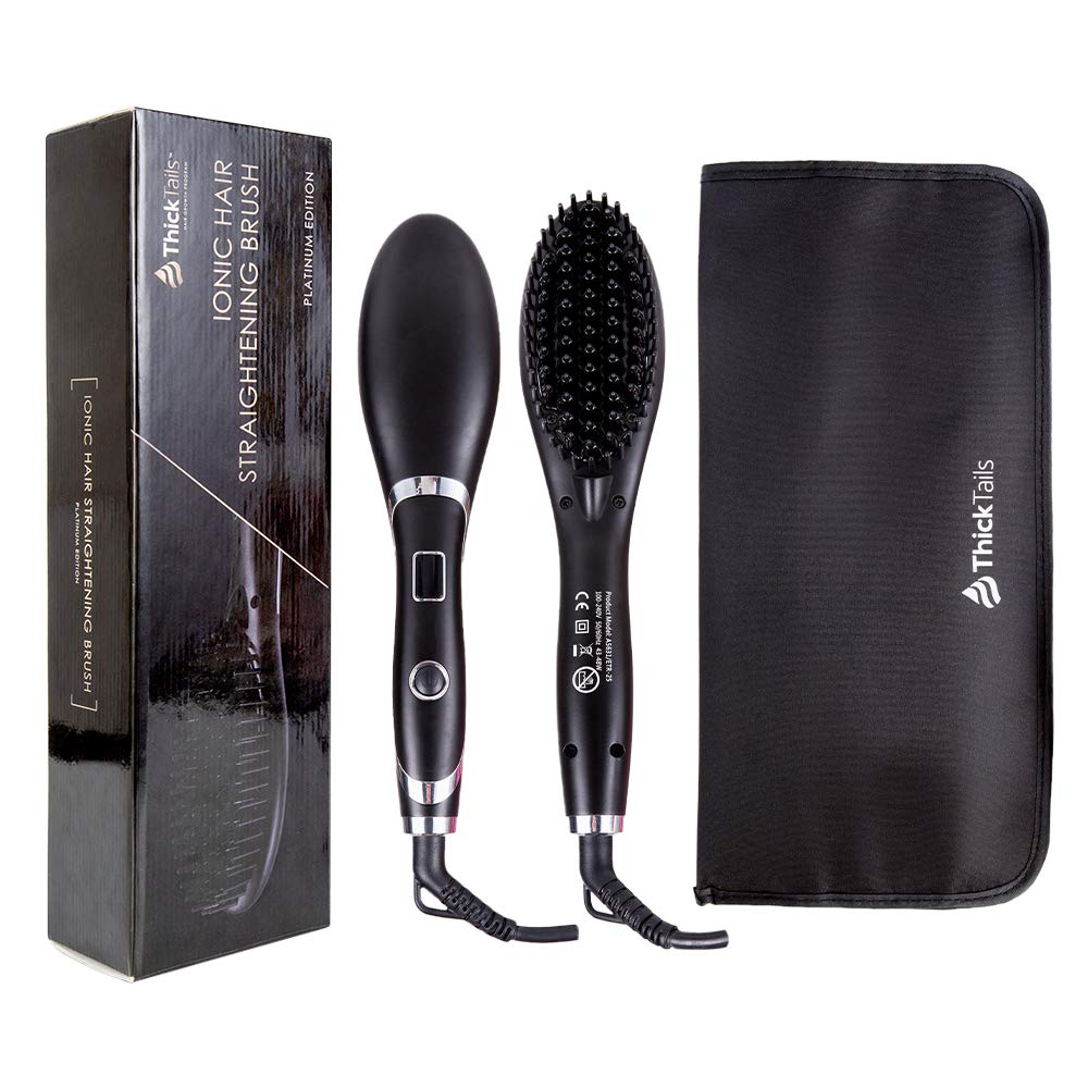 ThickTails Ionic Hair Straightener Brush - With Heat Resistant Travel Bag. Electric Corded Straightening Comb with LED Display and MCH Heating Function, Ionic Ceramic Anti Static, Safer Than Flat Iron