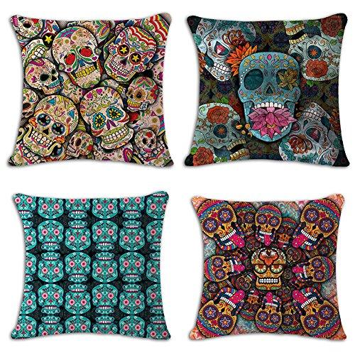 LeiOh Home Decor Cotton Linen Square Cute Skull Pattern Thro