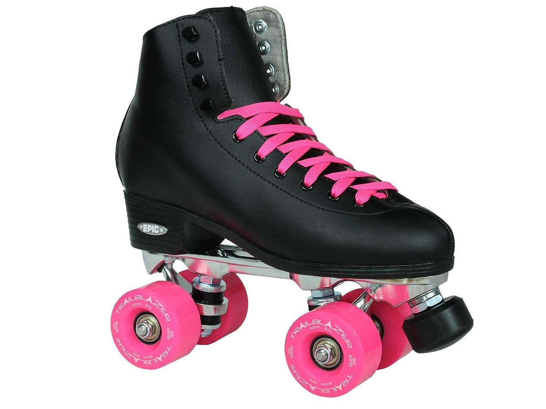 新しい。Epicクラシックブラック&ピンクハイトップアウトドアQuad Roller Skates w / 2ペアの靴紐(ブラック&ピンク) Mens 5  Mens 5