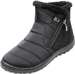 Stivali da Neve Caldi Donna Stivaletti Invernali Faux Fur Lining Boots Scarpe Ispessimento Impermeabili Slip On Scarpe Piatte con Cerniera Laterale Scarpe da Passeggio Casual Anti-Slip