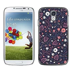 Paccase / SLIM PC / Aliminium Casa Carcasa Funda Case Cover para - Wallpaper Dark Blue Pink Flowers - Samsung Galaxy S4 I9500