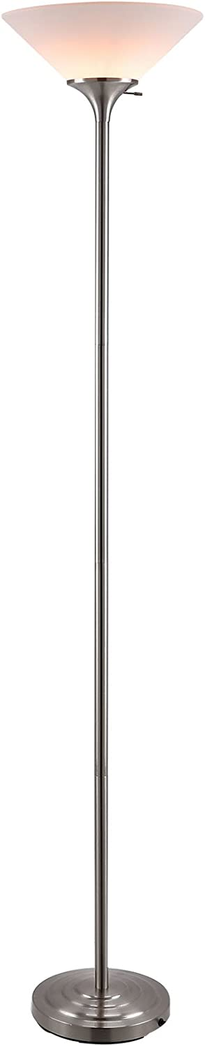 CO-Z Modern Tall Torchiere Lamp for Living Room Corner Bedroom Office, Stainless Steel 71 Uplight Task Standing Floor Lamp with LED Bulb, 150-Watt Incandescent Heavy Duty Torchiere Pole Floor Light