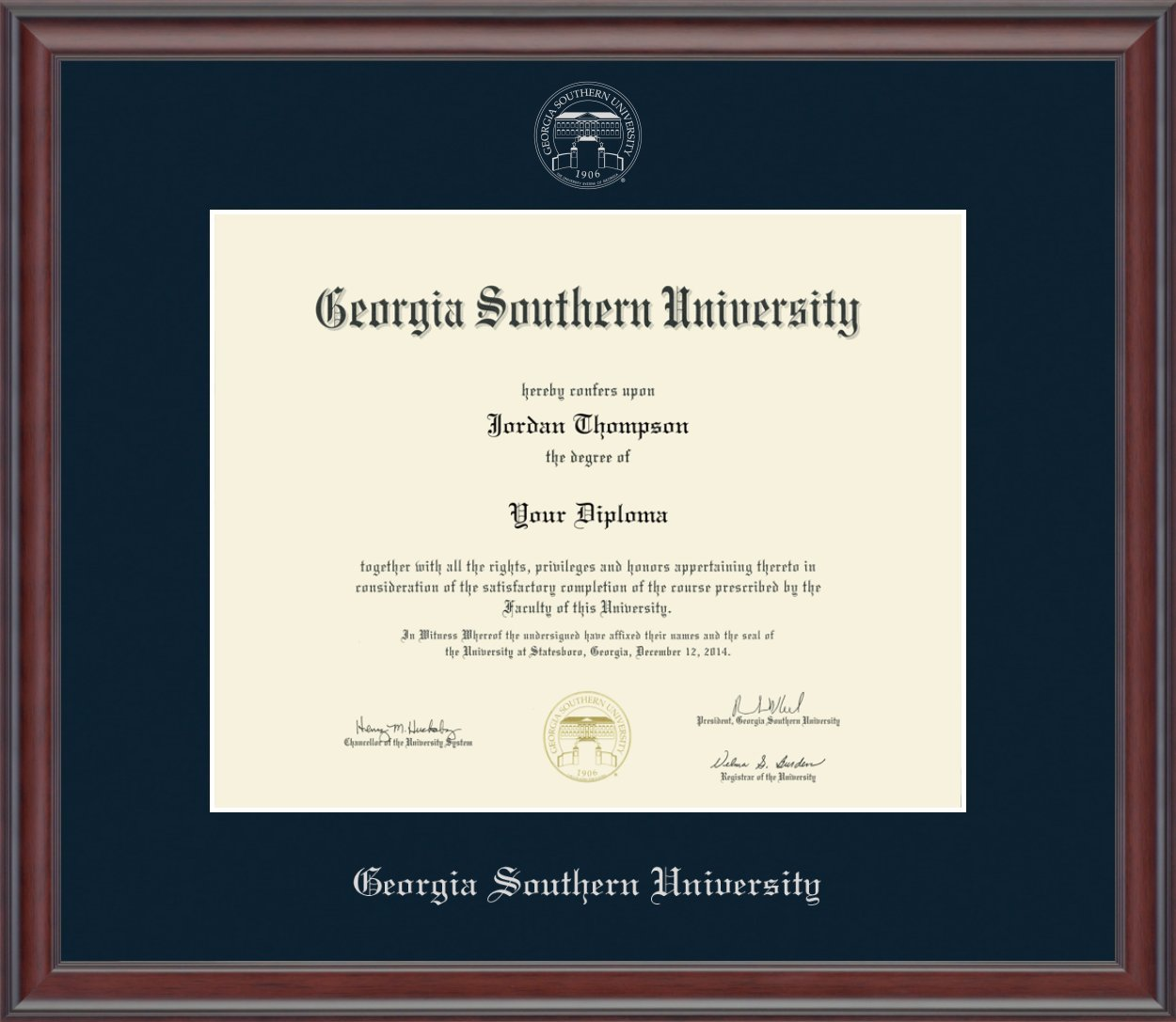 Georgia Southern Silver Embossed Diploma Frame - Features Solid Wood ''Studio'' Moulding - Officially Licensed - 12''h x 15''w Diploma Size - By Church Hill Classics by Church Hill Classics