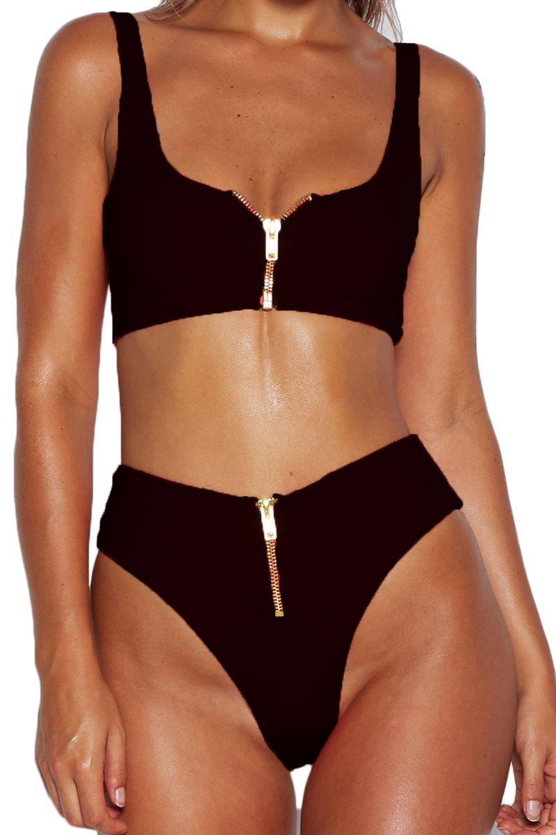 Meyeeka Women Zipper up Bottom Mid-Width Straps Sporty Crop Top Two Pieces Bikini Set S