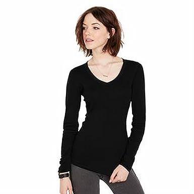 4d9ee5096 Bella Sheer Mini Rib Long Sleeve v-Neck t-Shirt | Amazon.com